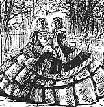 'Punch' cartoon depicting Victorian women wearing crinolines