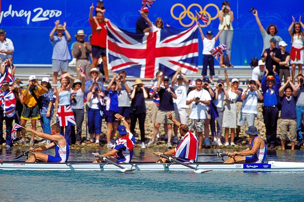 The GB coxless 4's celebrate their victory at Sydney 2000