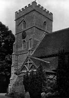 Old photograph of Purleigh Church in Essex with its square tower
