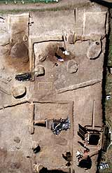 The excavation site showing the extent of building foundations