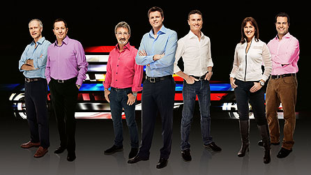 BBC F1 team, from left: Jonathan Legard, Martin Brundle, Eddie Jordan, Jake Humphrey, David Coulthard, Lee McKenzie, Ted Kravitz