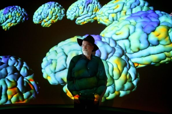 "Author Terry Pratchett, visiting the neuro-imaging laboratory at UCLA for ""Living with Alzheimers"""