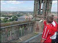 Top of Worcester cathedral