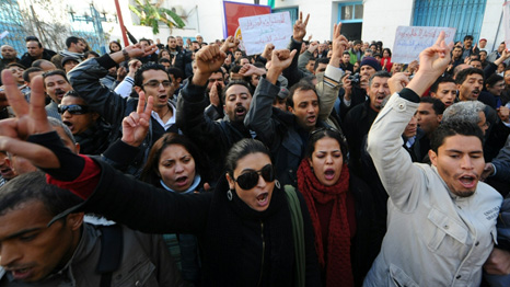 Tunisian protesters (AFP/Getty)
