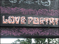 Love poetry sign at Latitude