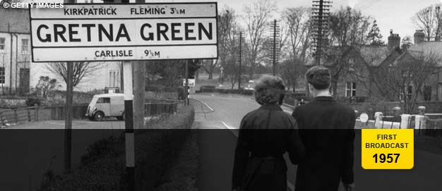 A couple entering Gretna Green in the 1950s.