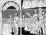 Image of medieval worshippers at the altar