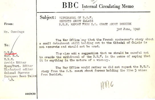 A memo about a request from the War Office.