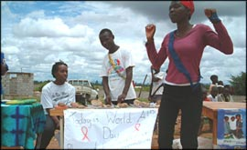 volunteers raise awareness of HIV and AIDS