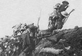 British soldiers go 'over the top' in World War One