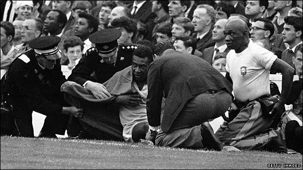 Pele injured during the 1966 World Cup