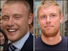 Andrew Flintoff in 2005 and 2009
