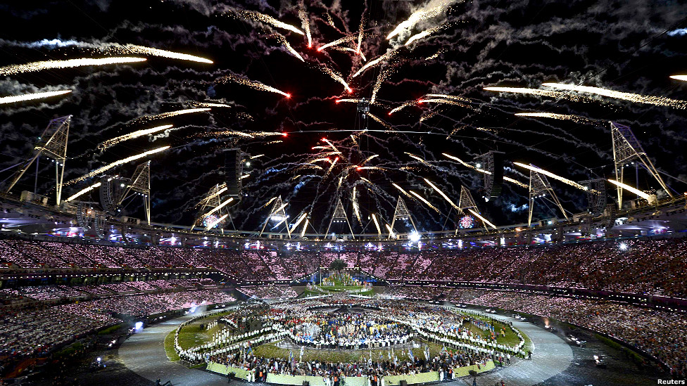 Fireworks during the opening ceremony of the London 2012 Olympic Games