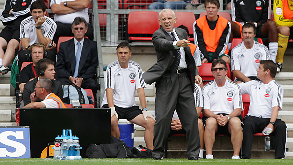Peter Reid gives instructions to his players from the touchline
