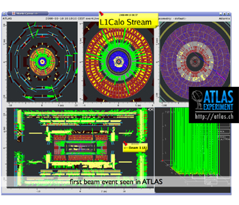The first beam event in the ATLAS detector!