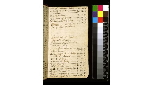 A page from Sir Isaac Newton's notebook showing his accounts. © The Fitzwilliam Museum