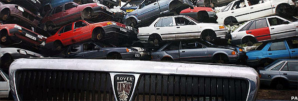 Rover cars destined for the scrap heap at a car breakers yard near York, Friday 15 April, 2005, following the announcement of the end of car production at the MG Rover plant / Press Association