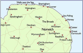 Map Of Norfolk BBC Online   Norfolk   Out & About   Map of Norfolk Map Of Norfolk