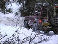 Picture: Snow chains help traction up the mountain