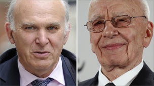 Vince Cable and Rupert Murdoch