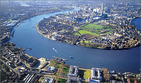 The River Thames seen from above Greenwich and the Isle of Dogs