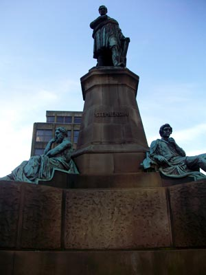The statue of George Stephenson in Newcastle