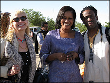 US artist, Leni Stern, Amy Kouyate (wife and lead singer to Bessakou Kouyate) and New York musician Will Calhoun (Left to right)