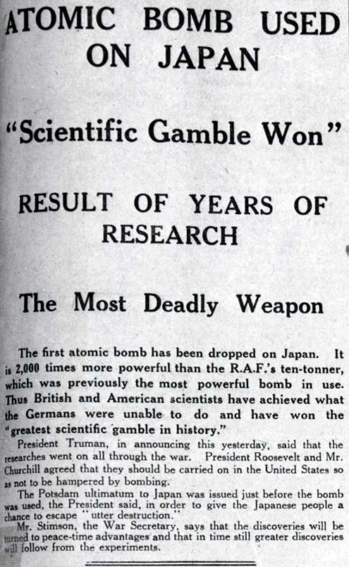 Extract from Manchester Gaurdian atomic bomb news report