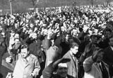 Photograph of Austrians demonstrating their approval of the Anschluss by giving the Nazi salute at a rally in Vienna