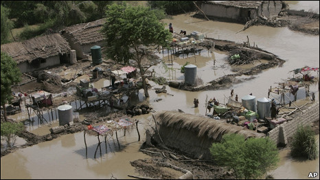 An aerial view of flood affected villages surrounded by water in Jacobabad, Pakistan on Saturday 14 August, 2010