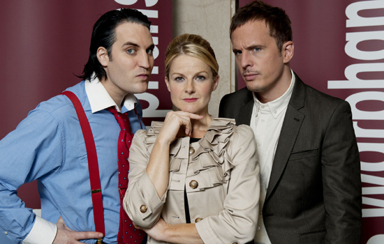 How Not To Live Your Life Series 3 (Noel Fielding as Marcus, Sarah Hadland as Karen and Dan Clark as Don.)