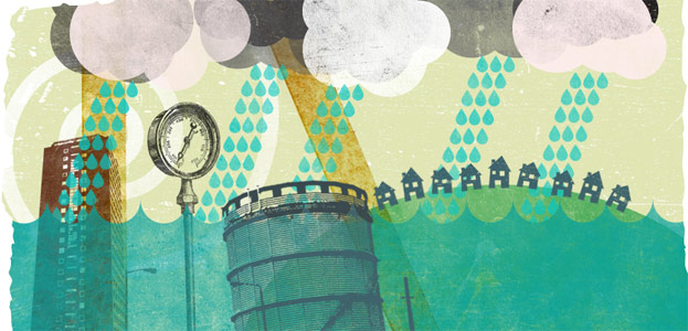 Illustration showing rain, water towers and houses