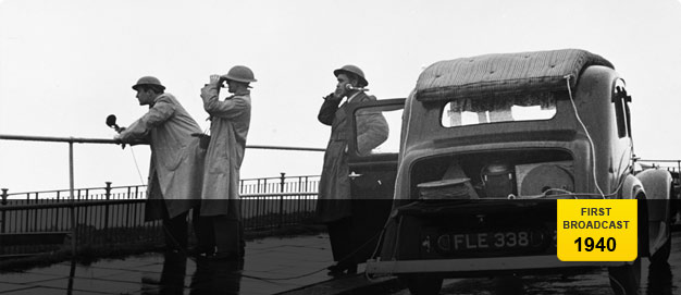 Robin Duff and recording crew and car on seafront at Dover.