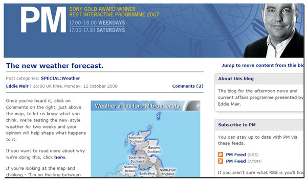 Changes to Radio 4 weather on the PM blog