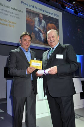 Raymond Blanc with the winner of the Derek Cooper Award, Richard Lutwyche