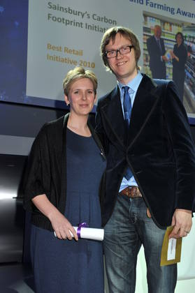 Alex Riley with Beth Hart from Sainsbury's who won Best Retail Initiative