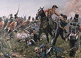 Painting showing Colonel Hugh Halkett capturing the French general Cambronne