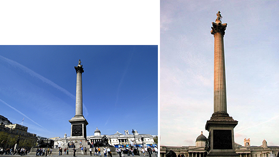 The first image shows a landscape shot of Nelson's column, and the second shows a vertical shot looking up from the base of the column
