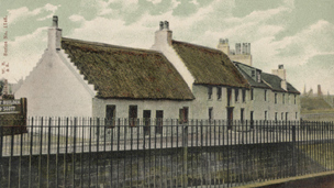 Hand-coloured view of thatched cottages at Water Row in Govan.