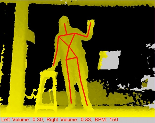 Depth image and control data from the Kinect