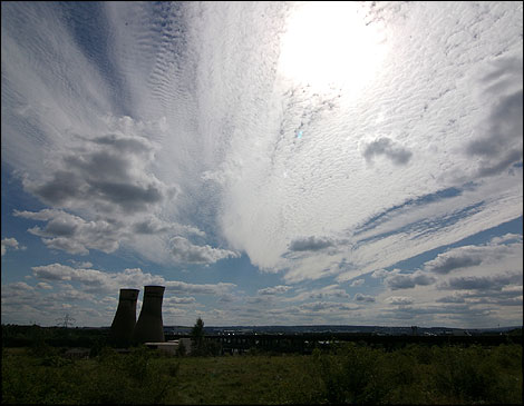 The sky and cooling towers
