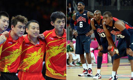 China Table Tennis men's team (left) and members of the USA basketball team (right)