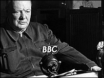 Winston Churchill at the BBC during WW2