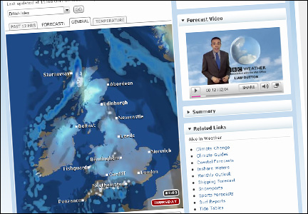 Screengrab of BBC Weather site