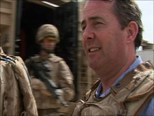 Liam Fox, MP, UK Defence Secretary, in Afghanistan