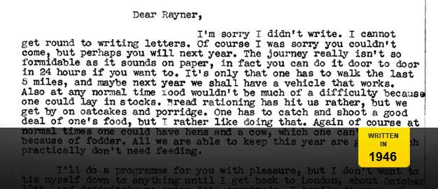 Letter from Orwell to Rayner Heppenstall.
