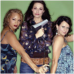 Angela Griffin as Darcey, Sarah Parish as Allie and as Siân Reeves as Sydney in 'Cutting It'