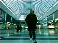 Andy strolls through the Brunel Plaza
