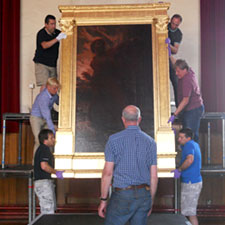 Removing one of Williams' pieces from Maesteg Town Hall