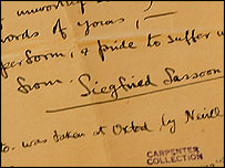 Siegfried Sassoon's handwriting